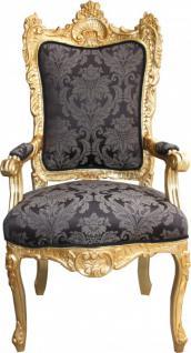 Casa Padrino Barock Thron Sessel Schwarz Muster/ Gold - Unikat - Königssessel- Hochzeitssessel