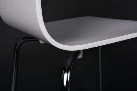 designer stuhl aus holz und verchromtem stahl weiss esszimmerstuhl moderner wohnzimmerstuhl. Black Bedroom Furniture Sets. Home Design Ideas