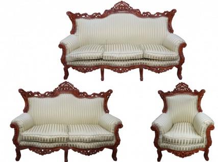 Casa Padrino Barock Wohnzimmer Set Jadegrün/Braun - 3-er Sofa + 2-er Sofa + 1 Sessel - Barock Möbel