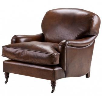 Chesterfield Luxus Echt Leder Ohrensessel Vintage Leder Dunkelbraun von Casa Padrino - Club Sessel