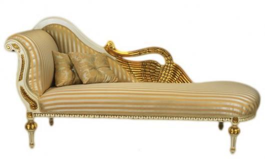 Casa Padrino Barock Luxus Chaiselongue Antik Weiss / Gold - Golden Wings - Luxus Qualität
