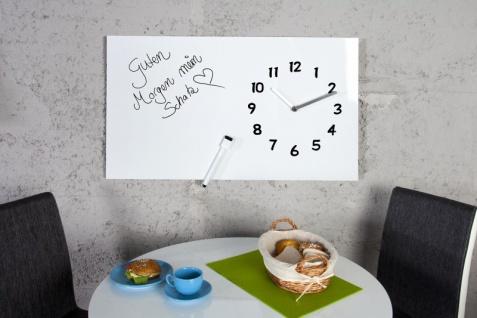 Casa Padrino Designer Wanduhr Weiß mit Flipchart Wand zur Beschriftung