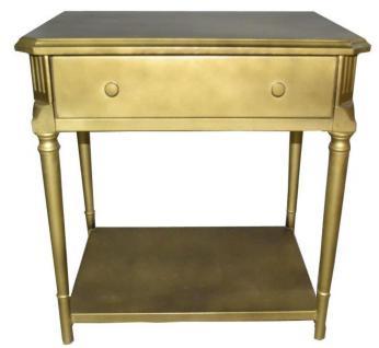 Casa Padrino Luxus Art Deco Nachttisch mit Schublade Gold - Antik Stil Beistelltisch - Nachtkommode - Nachtschrank