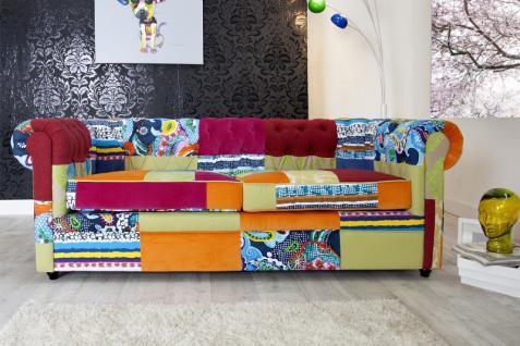Casa Padrino Chesterfield 3er Sofa Patchwork Bunt - Wohnzimmer Designer Couch