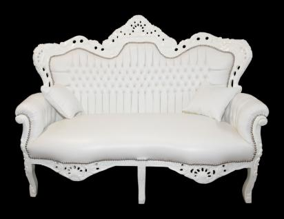 Casa Padrino Barock 2er Sofa Master Weiß Lederoptik - Wohnzimmer Couch Möbel Lounge