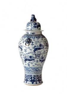 Casa Padrino Designer Keramik Vase mit Deckel Blau Durchmesser 50 x H. 102 cm - Luxus Kollektion