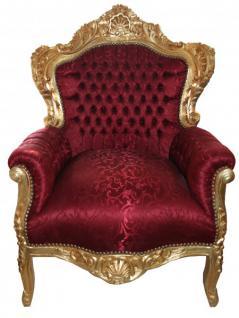 """Barock Sessel """" King"""" Bordeaux Musterstoff / Gold - Möbel Antik Stil"""