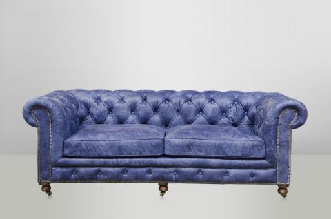 Chesterfield Luxus Echt Leder Sofa 2.5 Seater Vintage Leder von Casa Padrino Galata Blue