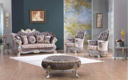 Casa Padrino Barock Neoklassik Sofa Set - 3er Sofa, 2 Sessel und Hocker - lila/silber/gold - Luxus Kollektion aus Italien