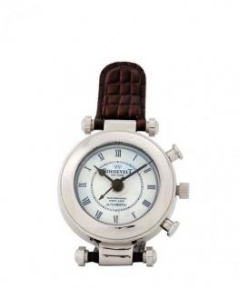 Casa Padrino Designer Luxus Uhr Nickel finish mit braunem Leder 10 x H. 18 cm - Luxus Qualität