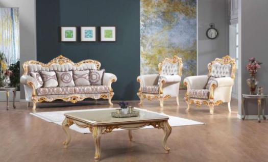 Casa Padrino Barock Neoklassik Sofa Set - 3er Sofa, 2 Sessel und Couchtisch - lila/creme/gold - Luxus Kollektion aus Italien