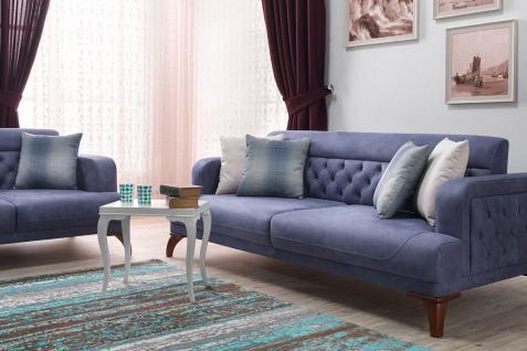 Casa Padrino Designer 3er Sofa Venice Blau / Holzfarbig - Hotel Sofa