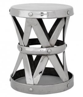 Casa Padrino Designer Luxus Beistelltisch / Sitzhocker Silber Nickel Finish Höhe 37 cm, Durchmesser 29 cm - Edelstahl Hocker