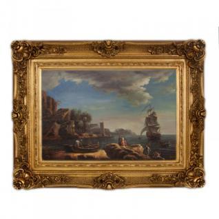 Handgemaltes Barock Öl Gemälde Landschaft Schiffe Ufer Nr 4 Gold Prunk Rahmen 130 x 100 x 10 cm - Massives Material