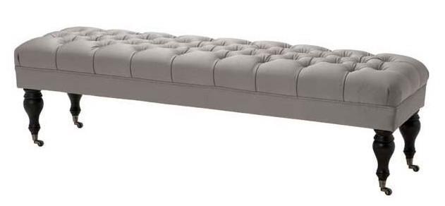 casa padrino luxus sitzhocker chesterfield grau extralang hocker m bel schlafzimmer wohnzimmer. Black Bedroom Furniture Sets. Home Design Ideas