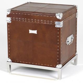 Casa Padrino Vintage Echtleder Koffertisch Braun 45 x 40 x H50 cm - Echt Leder Vintage Look