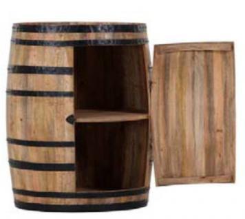 Casa Padrino Bar Schrank Weinschrank Bartisch aus Mango Massivholz - Holzfaß Weinfaß Faßmöbel Faßschrank Hotel & Restaurant Einrichtung Möbel Tisch