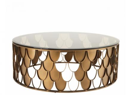 Casa Padrino Art Deco Luxus Designer Couchtisch Antik Kupfer - Wohnzimmer Salon Tisch - Luxus Möbel