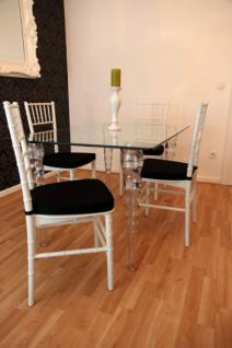 Designer Acryl Esszimmer Set Weiß/Schwarz - Ghost Chair Table - Polycarbonat Möbel - 1 Tisch + 4 Stühle - Casa Padrino Designer Möbel