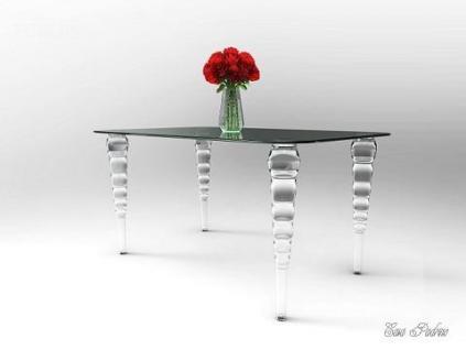 Casa Padrino Designer Tisch 140cm - Ghost Chair Table - Polycarbonat Möbel Acryl