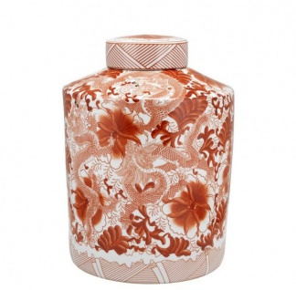 Casa Padrino Designer Keramik Vase mit Deckel Rot - Luxus Qualität