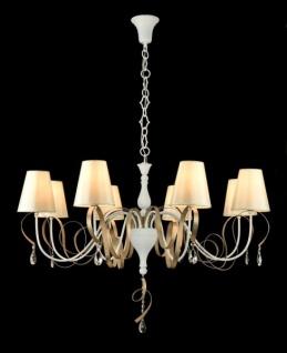 Casa Padrino Barock Kristall Decken Kronleuchter Weiß 100 x H 67 cm Antik Stil - Möbel Lüster Leuchter Hängeleuchte Hängelampe