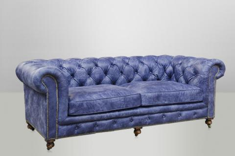chesterfield luxus echt leder sofa 2 5 seater vintage leder von casa padrino galata blue. Black Bedroom Furniture Sets. Home Design Ideas