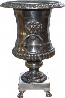 Casa Padrino Antik Stil Vase Lion aus Aluminium vernickelt - Pflanzentopf - Hotel Dekoration - Blumengefäss