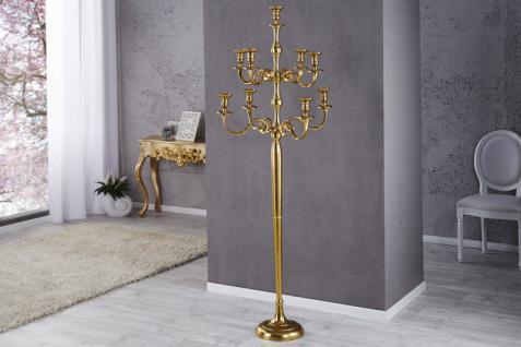 Casa Padrino Designer Kerzenhalter aus poliertem Aluminium Gold Shine Classic 9-armig Höhe 180 cm - Kerzenständer