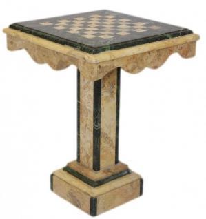 Casa Padrino Luxus Barock Spieltisch Schach / Dame Tisch Marmor Creme - Grün - Möbel Antik Stil Art Deco Jugendstil Schachtisch