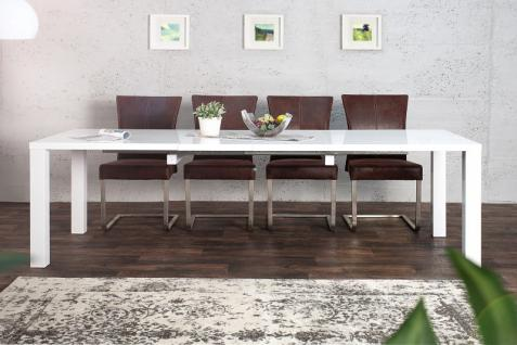 Moderner Design Esstisch Weiß Hochglanz - Ausziehbar 160 - 240 cm von Casa Padrino - Esszimmer Tisch