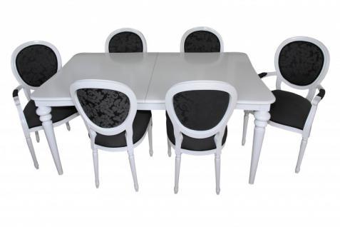 Casa Padrino Design Esszimmerset Weiß - Ausziehbar Esstisch + 6 Stühle