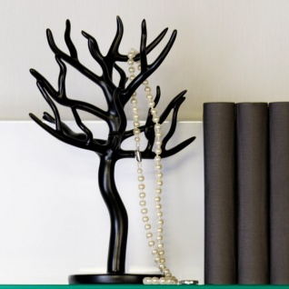 Schmuckhalterbaum schwarz aus Polyresin, Höhe 30cm, Breite 23cm, Tiefe 16cm - Schmuckständer, Schmuckbaum