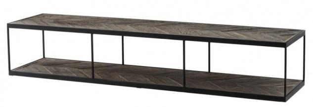 Casa Padrino Luxus Couchtisch aus verzinktem Stahl und verwittertem Eichenholz - Designer Wohnzimmertisch
