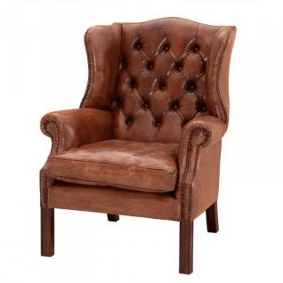 Luxus Echtleder Ohrensessel Chesterfield Vintage Braun - Sessel mit echtem Leder