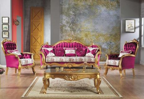 Casa Padrino Barock Neoklassik Sofa Set - 3er Sofa, 2 Sessel und Couchtisch - pink/creme/gold - Luxus Kollektion aus Italien