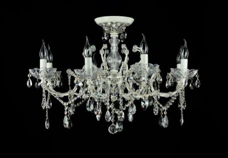 Casa Padrino Barock Kristall Decken Kronleuchter Cream Gold 76 x H 52 cm Antik Stil - Möbel Lüster Leuchter Hängeleuchte Hängelampe