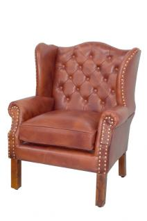 Luxus Echtleder Chesterfield Ohrensessel Braun 72 x 65 x H. 103 cm - Hotel Möbel Ohren Sessel Leder