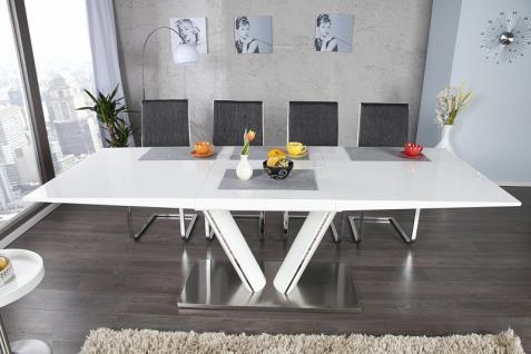 Moderner Yacht Design Esstisch Weiß / Metall Hochglanz Ausziehbar 160 - 220 cm von Casa Padrino - Esszimmer Tisch