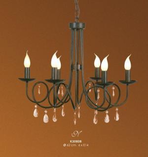 Designer Pendelleuchte mit Kristall-Deco im Barock Stil, 6-Flammig, Schwarz Leuchte Lampe