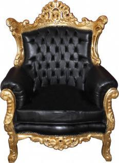 """Casa Padrino Barock Sessel """" Al Capone"""" Schwarz Lederoptik/ Gold Mod2 - Antik Stil"""