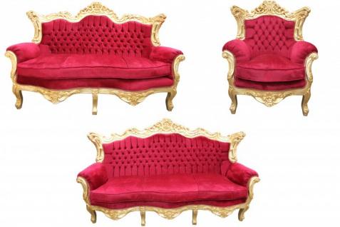 Casa Padrino Barock Wohnzimmer Set Bordeaux /Gold - 3er Sofa+2er Sofa + 1 Sessel