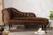 Chesterfield Recamiere / Chaiselongue Antikbraun aus dem Hause Casa Padrino - Wohnzimmer Liege Sofa
