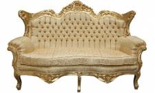 Casa Padrino Barock 2er Sofa Master Gold Muster / Gold 2Mod- Wohnzimmer Couch Möbel Lounge