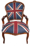 Casa Padrino Barock Salon Stuhl Union Jack / Mahagoni Braun - Englische Flagge - England