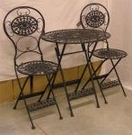 Jugendstil Gartenmöbel Set Old Black - 1 Tisch, 2 Stühle - Eisen