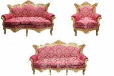 Casa Padrino Barock Wohnzimmer Set Bordeaux Muster/Gold - 3er Sofa+2er Sofa + 1 Sessel