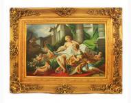 Handgemaltes Barock Öl Gemälde Familien Engel Bildniss 7 Gold Prunk Rahmen 130 x 100 x 10 cm - Massives Material
