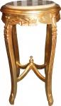 Barock Beistelltisch mit Marmorplatte Rund Gold 70 x 40 cm Antik Stil