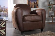 Casa Padrino Club Sessel Dunkelbraun - Fernseh Sessel Lounge Wohnzimmer Möbel